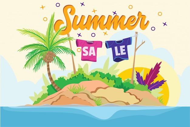 Ilustração de ilha de praia venda de verão Vetor Premium