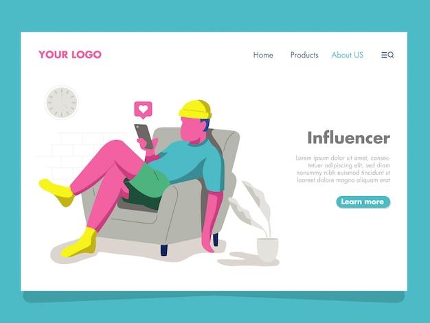 Ilustração de influenciador homem para página de destino Vetor Premium