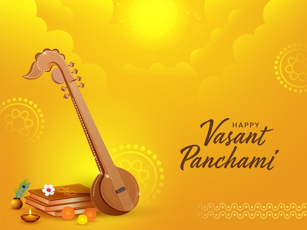 Ilustração de instrumento veena com livros sagrados, flores, lâmpada de óleo acesa para feliz vasant panchami. Vetor Premium