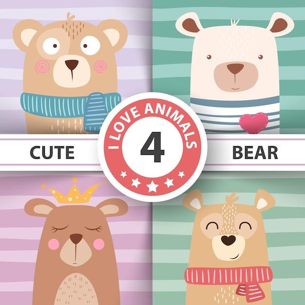 Ilustração de inverno bonito. personagens de urso. Vetor Premium