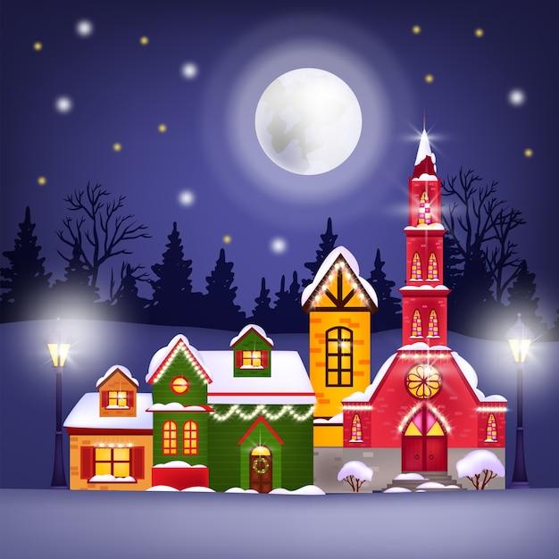Ilustração de inverno de natal com casas de férias, lua, céu noturno, estrelas, silhueta da floresta Vetor Premium