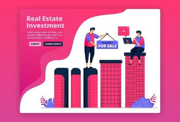 Ilustração de investimento comprando imóveis urbanos, imóveis ou apartamentos. aumente a riqueza comprando propriedades. Vetor Premium