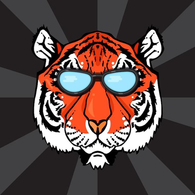 Ilustração, de, isolado, cabeça tigre, com, óculos Vetor Premium