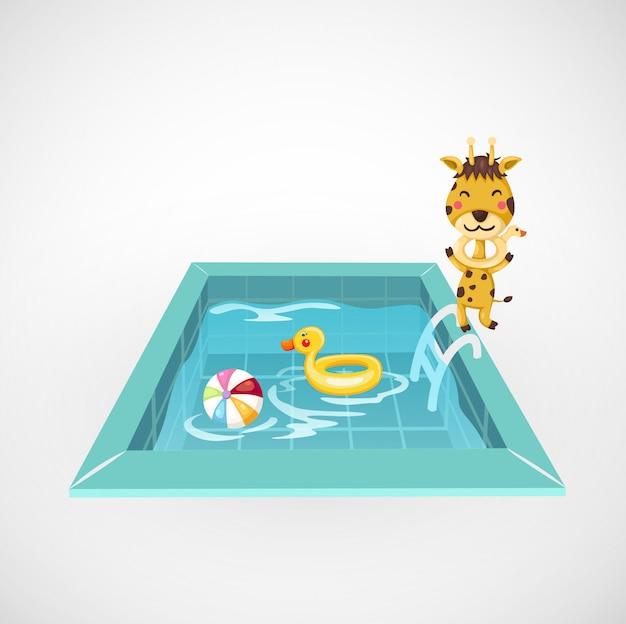 Ilustração, de, isolado, girafa, e, um, piscina Vetor Premium