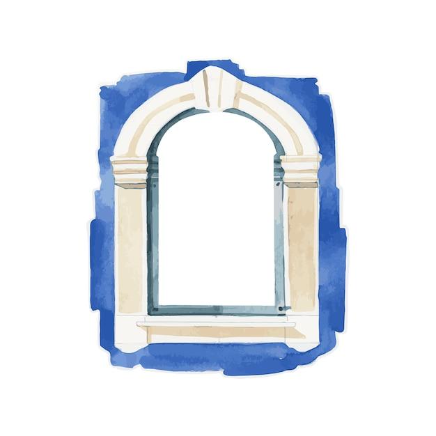 Ilustração, de, janela, cor água, estilo Vetor grátis