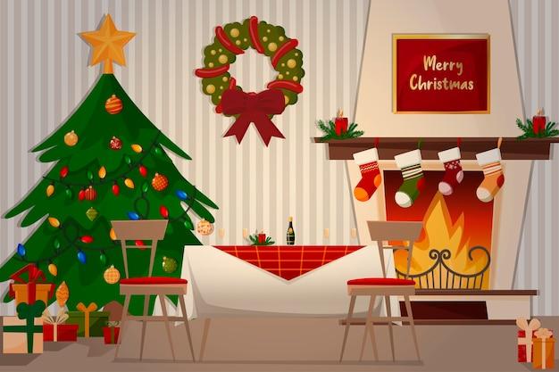 Ilustração de jantar em família. lareira, árvore de natal, mesa festiva e presentes. Vetor Premium