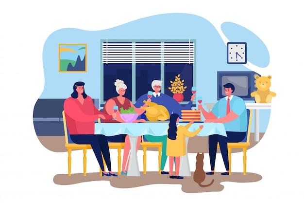 Ilustração de jantar em família, pessoas felizes dos desenhos animados, jantando juntos na sala de estar em casa interior, ação de graças, comemorando o jantar Vetor Premium