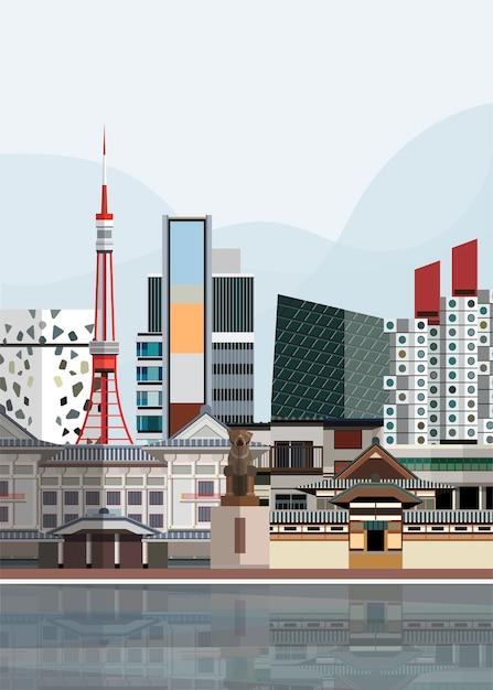 Ilustração, de, japoneses, marcos Vetor grátis