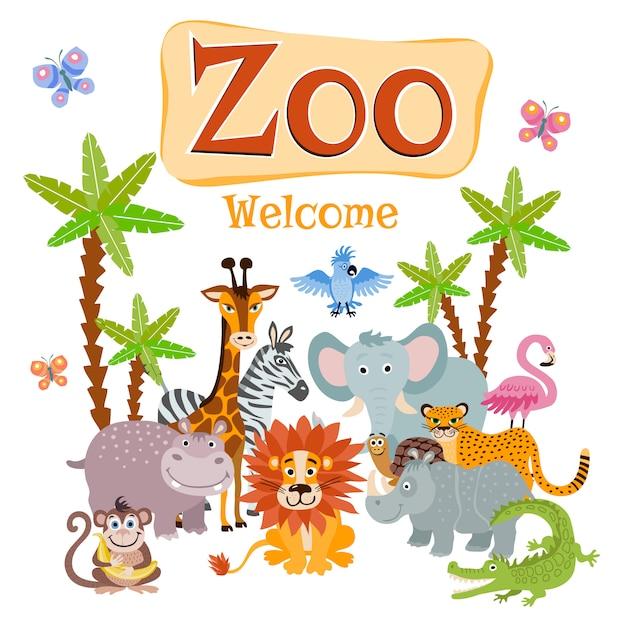 Ilustração de jardim zoológico com animais selvagens safari dos desenhos animados Vetor Premium