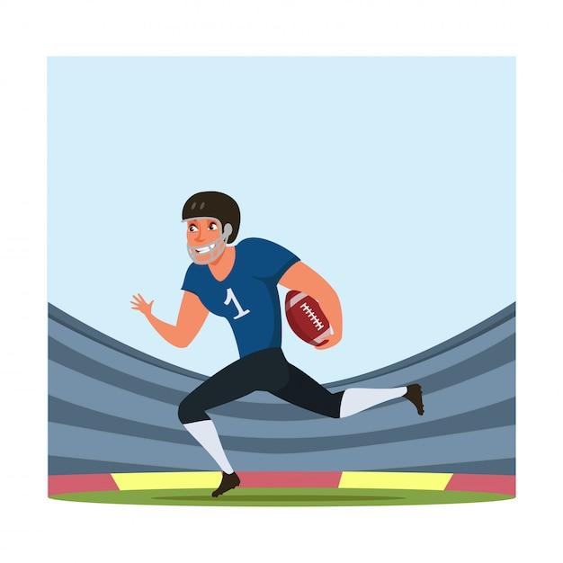 Ilustração de jogador de futebol americano com bola plana Vetor Premium