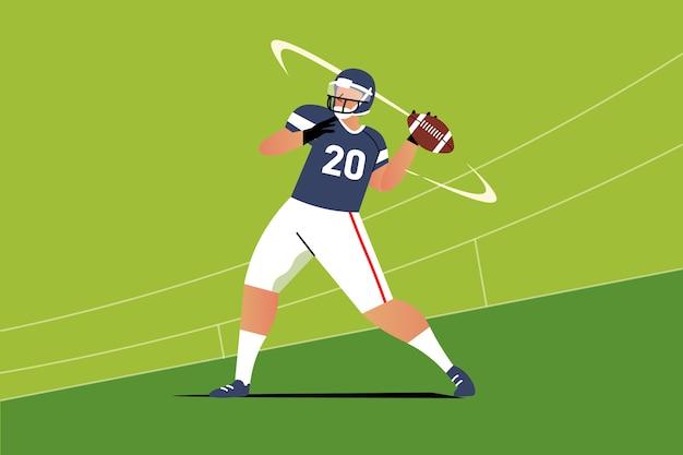 Ilustração de jogador de futebol americano de design plano Vetor Premium