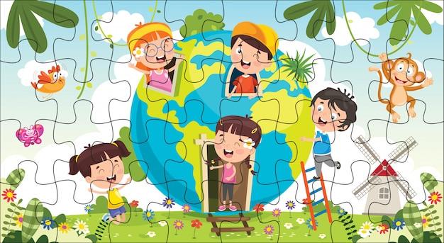 Ilustração de jogo de quebra-cabeça para crianças Vetor Premium