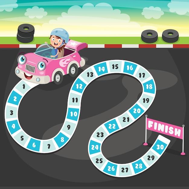 Ilustração de jogo de tabuleiro de números para educação de crianças Vetor Premium