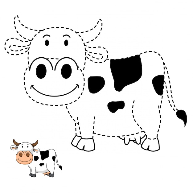 Ilustracao De Jogo Educativo E Vaca Para Colorir Vetor Premium