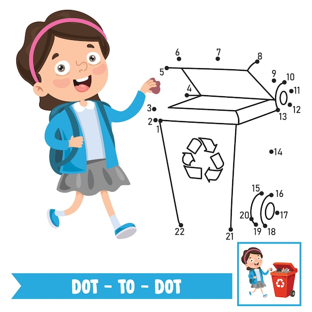 Ilustração de jogo ponto a ponto para educação de crianças Vetor Premium