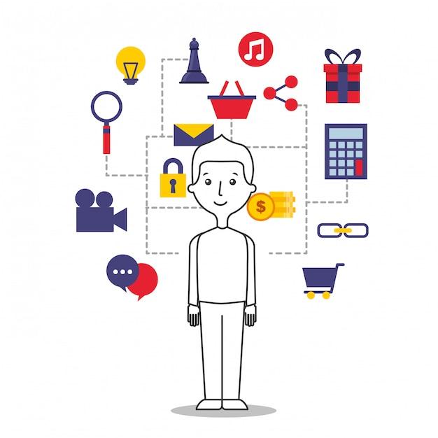 Ilustração de jovem com ícones da internet Vetor Premium