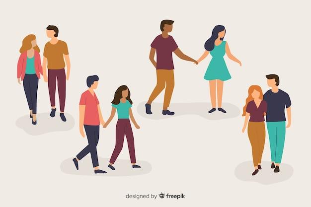 Ilustração de jovens casais andando Vetor grátis