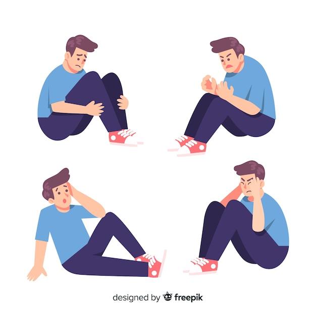 Ilustração, de, jovens, com, diferente, emoções Vetor grátis