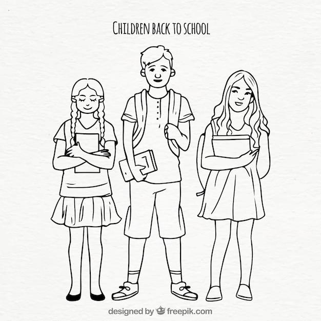 Ilustração de jovens com livros escolares Vetor grátis