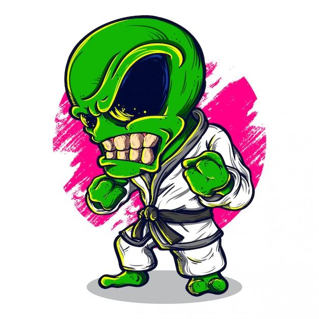 Ilustração de karatê alienígena Vetor Premium