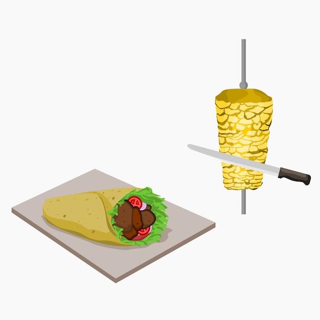 Ilustração de kebab turco Vetor Premium