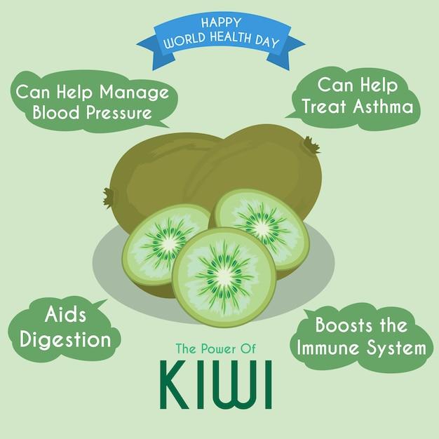Ilustração de kiwi e seus benefícios Vetor Premium