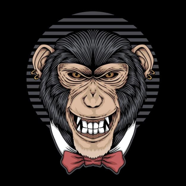Ilustração de laço de chimpanzé Vetor Premium