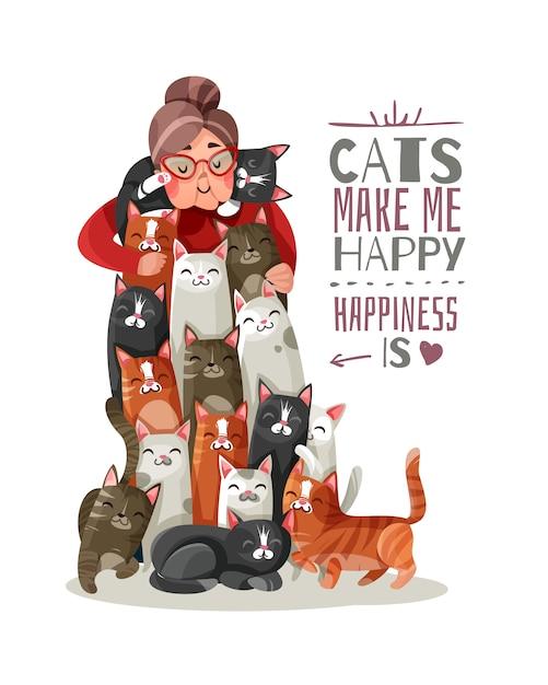 Ilustração de lady cats Vetor grátis