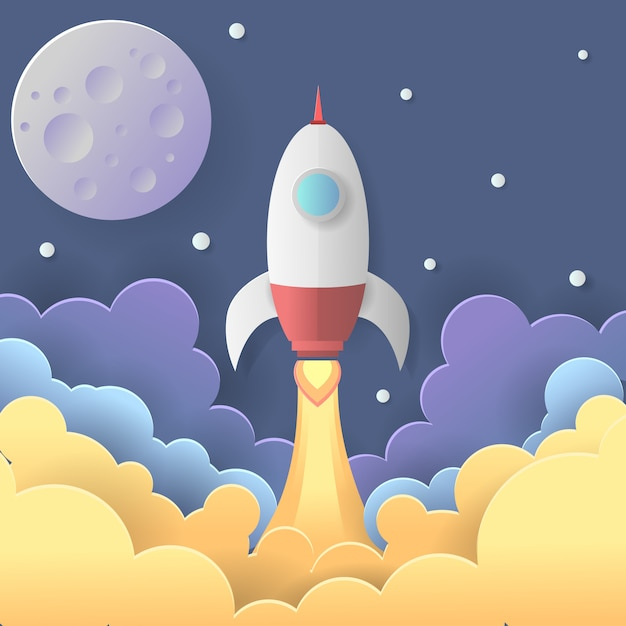 Ilustração de lançamento de foguete Vetor Premium