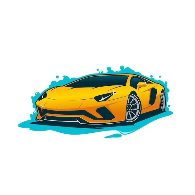 Ilustração de lavagem de carro Vetor Premium