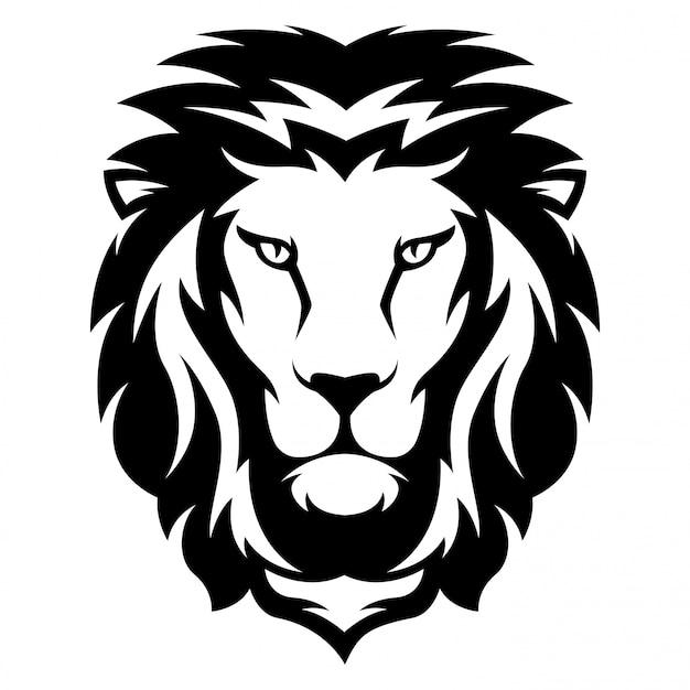 Ilustração, de, leão, com, preto branco, estilo Vetor Premium