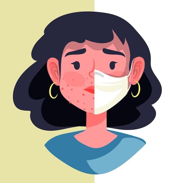 Ilustração de ligar / desligar a máscara facial Vetor grátis