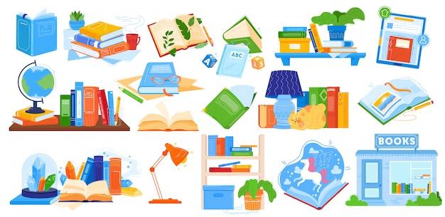 Ilustração de livros de leitura, coleção de desenhos animados com notebook aberto ou fechado, enciclopédia livro para educação escolar em casa Vetor Premium