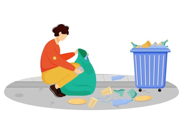 Ilustração de lixo limpeza trabalhador comunitário. jovem voluntário, personagem de desenho animado ativista ambiental sobre fundo branco. gestão de resíduos, triagem e reciclagem de lixo Vetor Premium