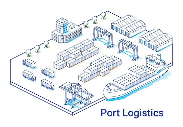 Ilustração de logística portuária em estilo isométrico linear. linha de arte mínima. conceito com navio, contêineres, guindastes e outros edifícios. Vetor Premium