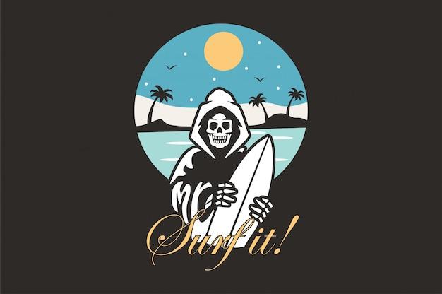 Ilustração de logotipo com surfista de esqueleto Vetor Premium