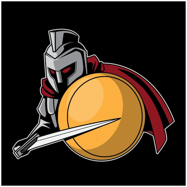 Ilustração de logotipo de espadachim de legião Vetor Premium