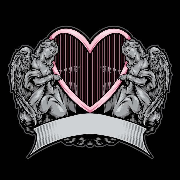 Ilustração de logotipo de estátua de anjo Vetor Premium