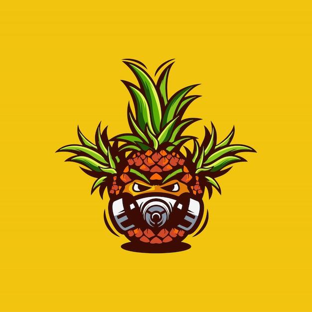 Ilustração de logotipo de máscara de abacaxi Vetor Premium