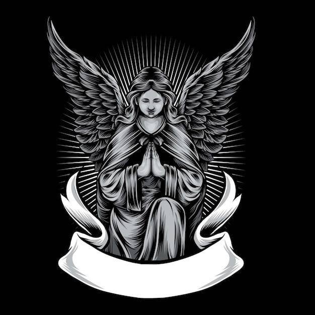 Ilustração de logotipo de vetor de estátua de anjo Vetor Premium