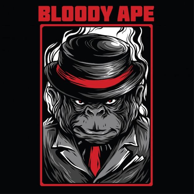 Ilustração de macaco sangrento Vetor Premium