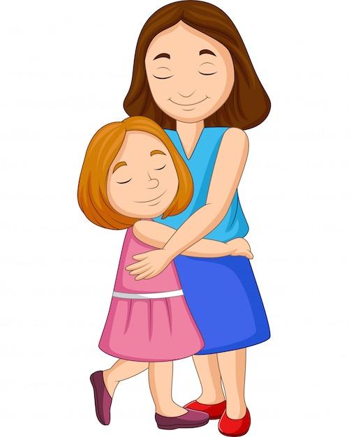 Ilustração, de, mãe filha, abraçando Vetor Premium
