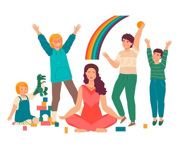 Ilustração de mãe super, cartoon linda jovem mãe pratica ioga em lótus asana, maternidade feliz em branco Vetor Premium