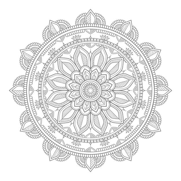 Ilustração de mandala de ornamento redondo decorativo Vetor Premium