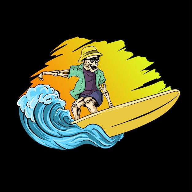 Ilustração de mão desenhada crânio surf Vetor Premium