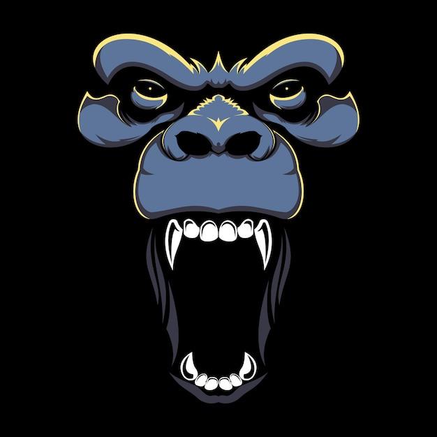 Ilustração de mão desenhada de cara de gorila com raiva Vetor Premium