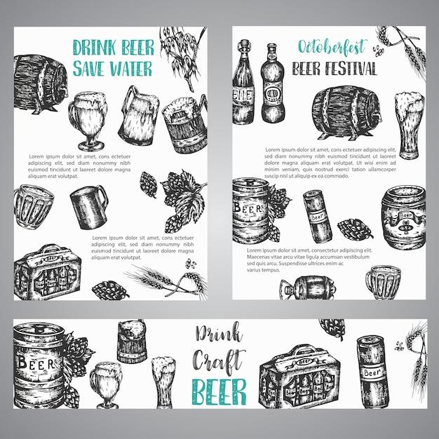 Ilustração de mão desenhada de cerveja conjunto de folhetos com coleção de vintage brewery esboçou símbolos vetoriais october fest banner Vetor Premium