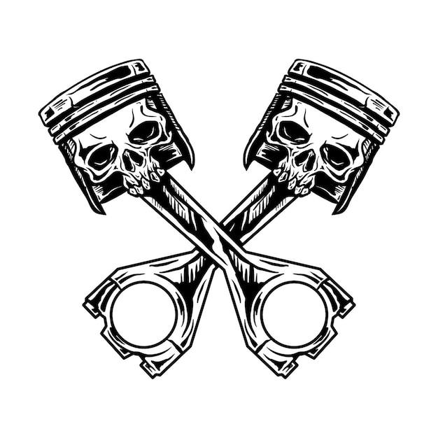Ilustração de mão desenhada de crânio de pistão Vetor Premium