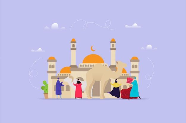 Ilustração de mão desenhada de eid al adha Vetor Premium