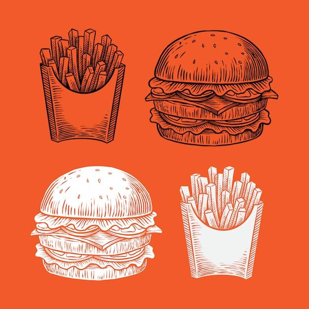 Ilustração de mão desenhada de hambúrguer e fritas Vetor Premium